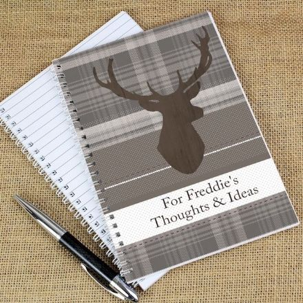 Personalised A5 Notebook -  Highland Stag